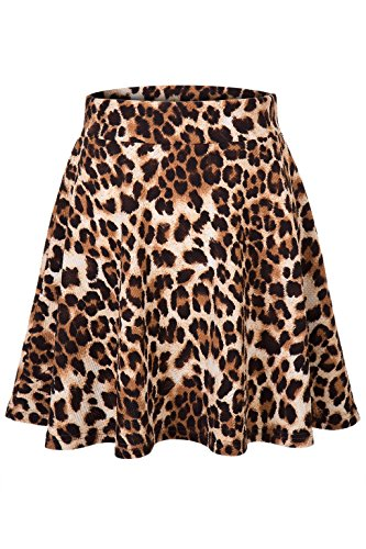 Dani's Choice Attractive Print Stretch A-line Flared Circle Skater Mini Skirt