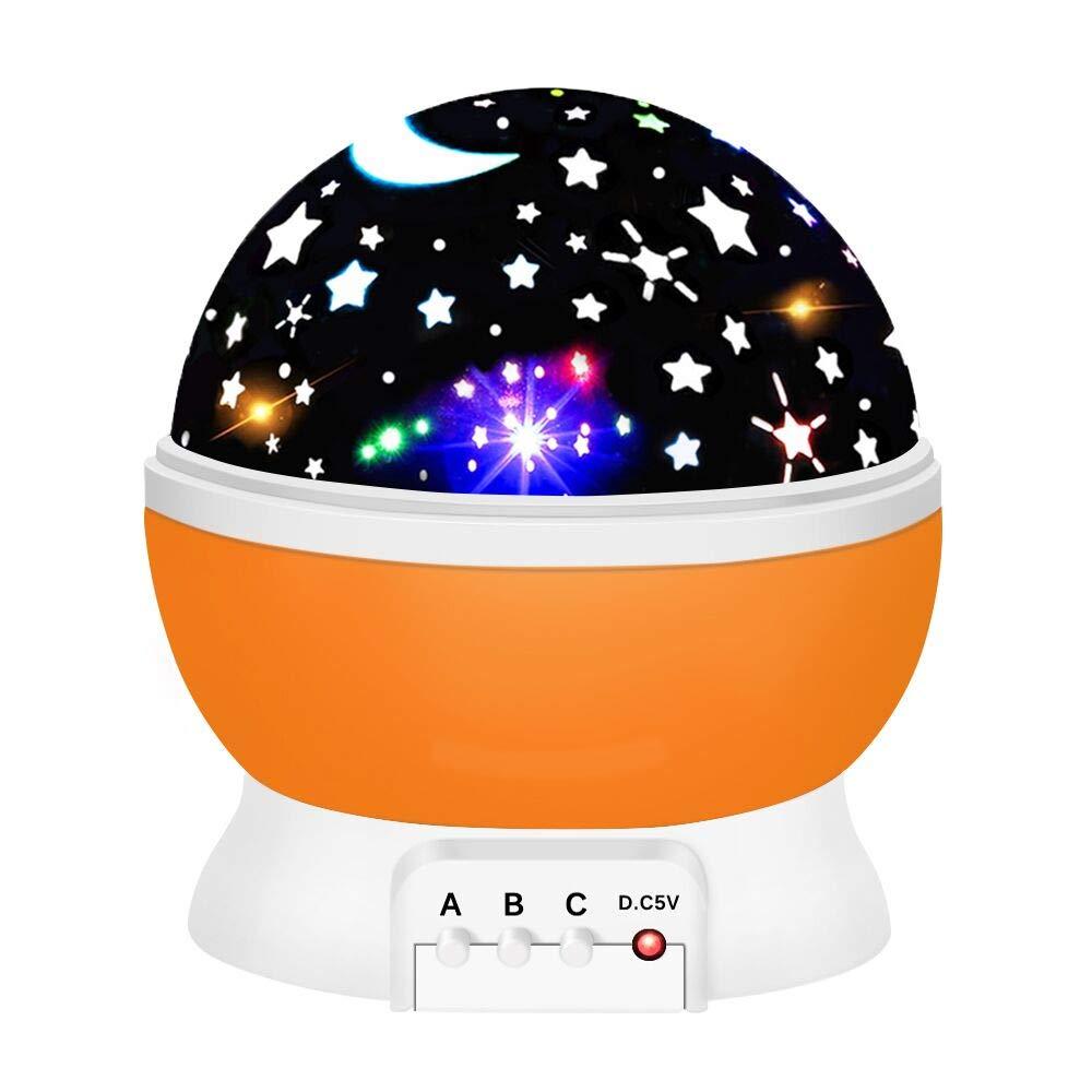 Birthday Presents for 2-10 Year Old Girls, Tisy Star Night Lights for Kids Toys for 2-10 Year Old Girls Gifts Age 2-10 Orange TSUKXK05