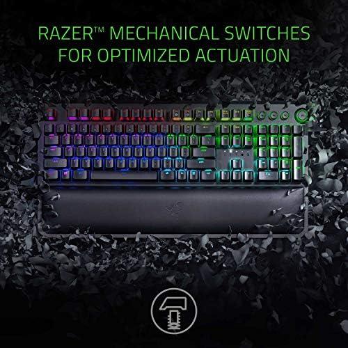 Razer BlackWidow Elite Mechanical Gaming Keyboard: Green Mechanical Switches – Tactile & Clicky – Chroma RGB Lighting – Magnetic Wrist Rest – Dedicated Media Keys & Dial – USB Passthrough 51ccHAFFYeL