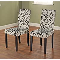 Metro Shop Parson Cream and Black Rubber Wood Dining Chairs (Set of 2)-Parson Chair