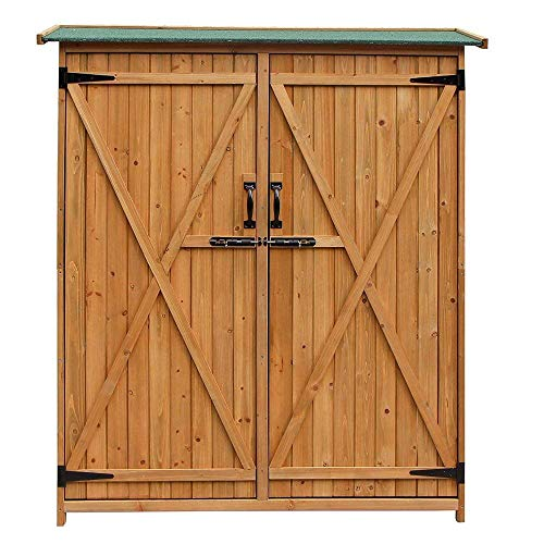 Yoshioe 64″ H 100% Fir Wooden Shed Garden Storage Sheds Double Doors -Lockable Cabinet- Easy to Install- Enough Space for Outdoor Storage(Natural Wood Color)