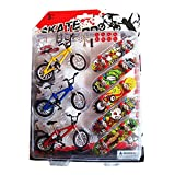 Techinal 5 Pack Mini Finger Sports Skateboards with Endoluminal Metallic Stents + 3 Pack Finger Bicycles Cool Boy Toy Creative Game Toy Set