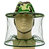 FSLIFE 1pcs Camouflage Beekeeping Beekeeper Anti-mosquito Bee Bug Insect Fly Mask Cap Hat with Head Net Mesh Face Protection Outdoor Fishing Equipment (1pcs)