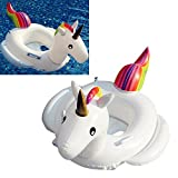 Power girls Kids Inflatable Flamingo Float Swim Ring Cute Pink Swimming Pool Float Children Seat Boat Water Toy Beach Toys (White)