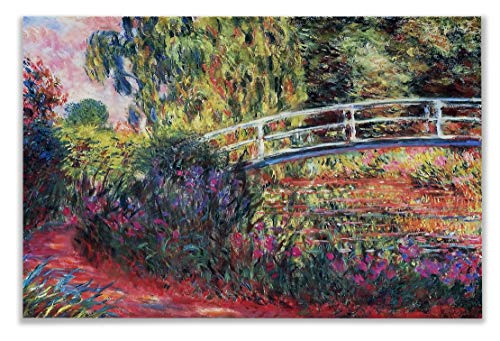 (Monet Wall Art Collection The The Japanese Bridge (The Water-Lily Pond) Canvas Prints Wrapped Gallery Wall Art | Stretched and Framed Ready to Hang 8X12,)