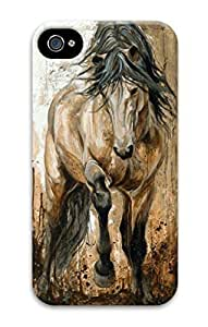 3D Hard Plastic Case for iPhone 4 4S 4G,Running Horse Painting Case Back Cover for iPhone 4 4S