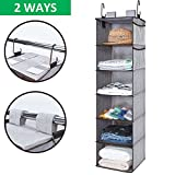 StorageWorks Hanging Closet Organizer,Dorm Closet Organizers With Thickened Board, Gray, 6 Shelves, Side Pockets, 12x12x42 inches