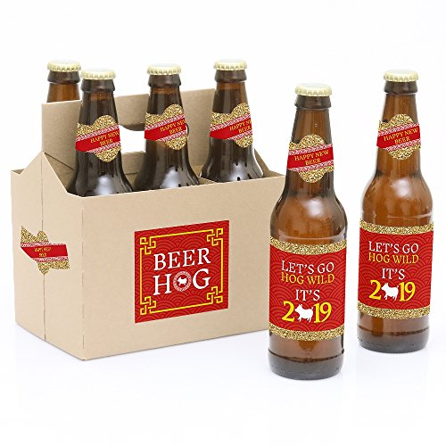Chinese New Year - 2019 Year of the Pig Beer Decorations for Women and Men - 6 Beer Bottle Label Stickers and 1 Carrier (Best Beer Making Kit 2019)