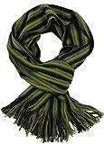 Scarf, striped, green black multicolor, 100% wool (Merino)