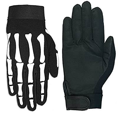 Hot Leathers Skeleton Mechanic Gloves (Black, Large): Automotive