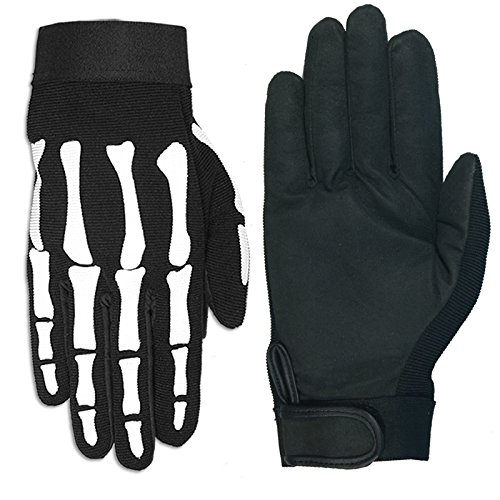 Hot Leathers Skeleton Mechanic Gloves (Black, -