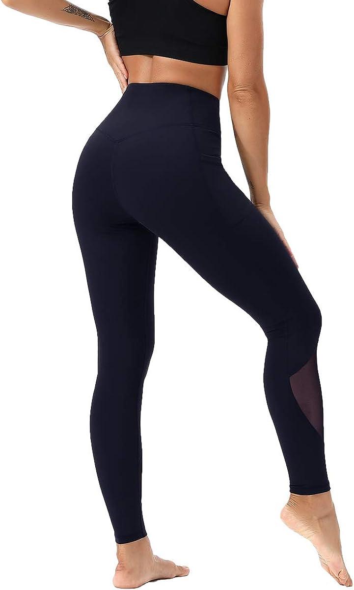 Kaleilo High Waist Yoga Shorts Workout Running Athletic Non See-Through Yoga Pants M Black//White