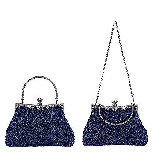 Handmade Style Superw Purple Beaded Evening Clutch Bag Wedding Purse Party Handbag Sequined Women's Vintage Elegant and ZrnxIqEfZw