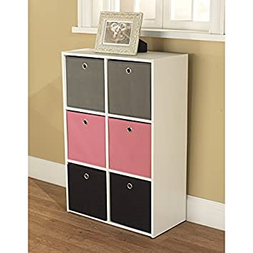 Target Marketing Systems Utility Collection Contemporary Bin Bookcase with Six Storage Bins, Designed for Girls Bedroom, Pink Gray Black White