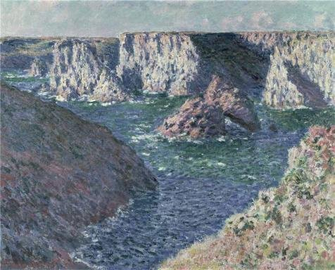 The High Quality Polyster Canvas Of Oil Painting 'Rocks At Belle-Isle,1886 By Claude Monet' ,size: 10x12 Inch / 25x31 Cm ,this Imitations Art DecorativePrints On Canvas Is Fit For Game Room Decor And Home Decor And Gifts
