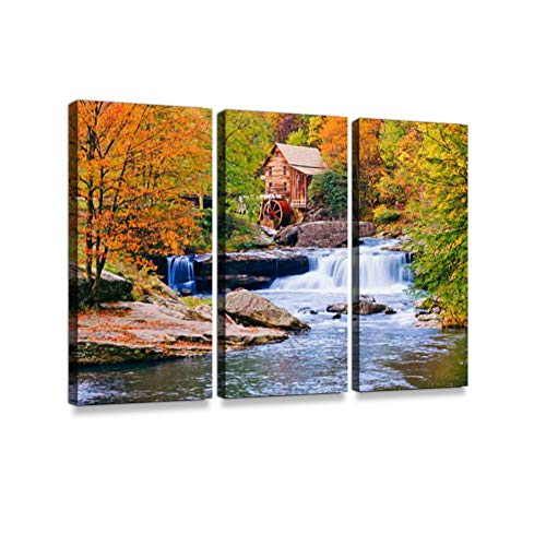 Autumn in West Virginia 3 Pieces Print On Canvas Wall Artwork Modern Photography Home Decor Unique Pattern Stretched and Framed 3 Piece