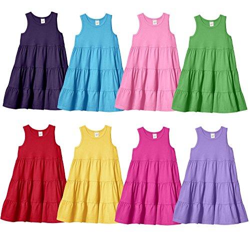 City Threads Big Girls Super Soft 100% Cotton Tank Sleeve Tiered Summer Dress
