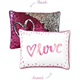 LOVE Kids Pillow with Reversible Pink & Silver Color-Changing Mermaid Sequins