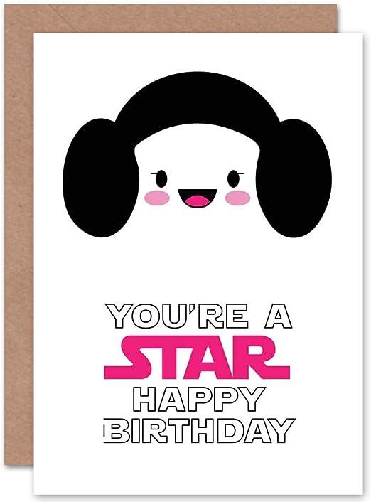 Amazon.com: Tarjeta de cumpleaños Happy Princess Leia Star ...