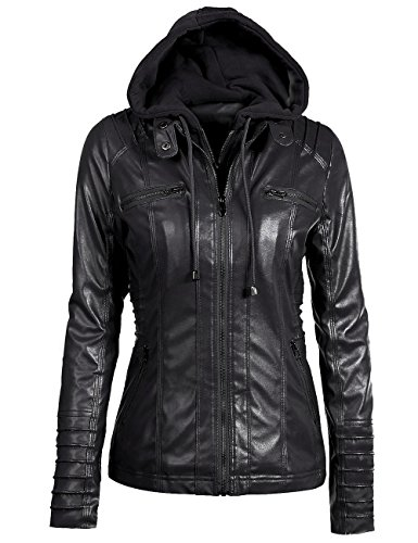 Sexyshine Women's Zipper Up Removable Hooded Faux Leather Jacket Biker Bomber Classic Vintage Jackets (Classic Leather Bomber)