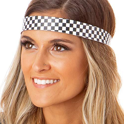 Hipsy Women's Adjustable NO SLIP Checkerboard Wide Fashion Headband (Wide Black & -
