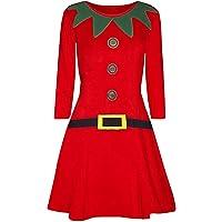 Ladies Christmas Long Sleeve Mini Dresses Womens Casual Elegant Elf Santa's Little Helper Belt Xmas Costume Party Swing Dress