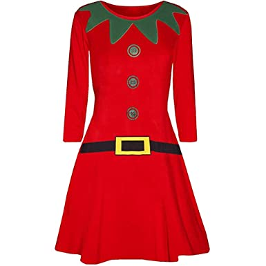 f5fd1f26addc1 Ladies Christmas Long Sleeve Mini Dresses Womens Casual Elegant Elf Santa's  Little Helper Belt Xmas Costume Party Swing Dress