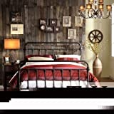 Queen Size Giselle Antique Dark Bronze Graceful Lines Victorian Iron Metal Bed