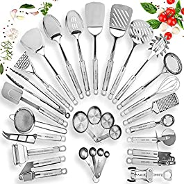HOME HERO Stainless Steel Kitchen Utensil Set – 29 Cooking Utensils – Nonstick Kitchen Utensils Cookware Set with…