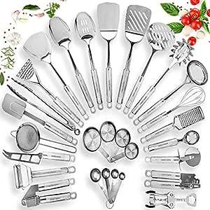 Home Hero Stainless Steel Kitchen Utensil Set - 29 Cooking Utensils -  Nonstick Kitchen Utensils Cookware Set with Spatula - Best Kitchen Gadgets  ...