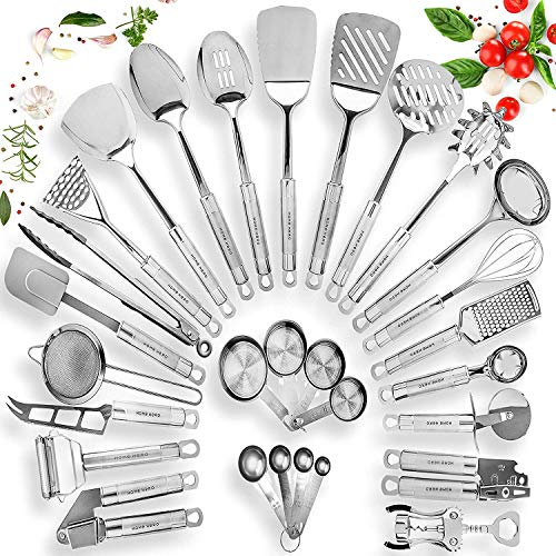 Home Hero Stainless Steel Kitchen Utensil Set - 29 Cooking Utensils - Nonstick Kitchen Utensils Cookware Set with Spatula - Best Kitchen Gadgets Kitchen Tool Set Gift (Best Kitchen Utensils Brand)