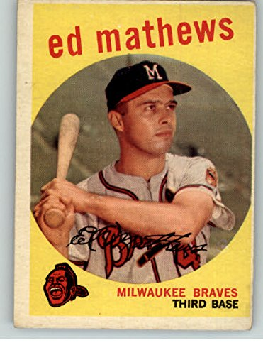 1959 Topps Baseball #450 Eddie Mathews Braves VG-EX 301991 Kit Young Cards - Mathews Baseball Card