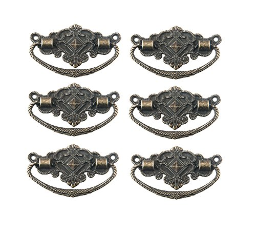 """Antrader 6pcs Metal Antique Style Cabinet Drawer Wood Case Floral Rim Pull Handle Knobs Bronze Tone 2.8"""" x 1.8"""""""
