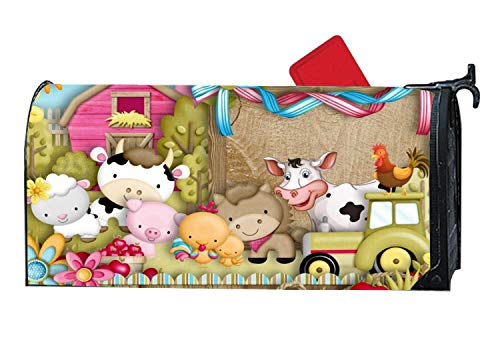 Cute Fun Farm Harvest Mailbox Makover Cover - Vinyl witn Full Magnetic for Steel/Metal Standard Mailbox, 6.5 x 19 Inches