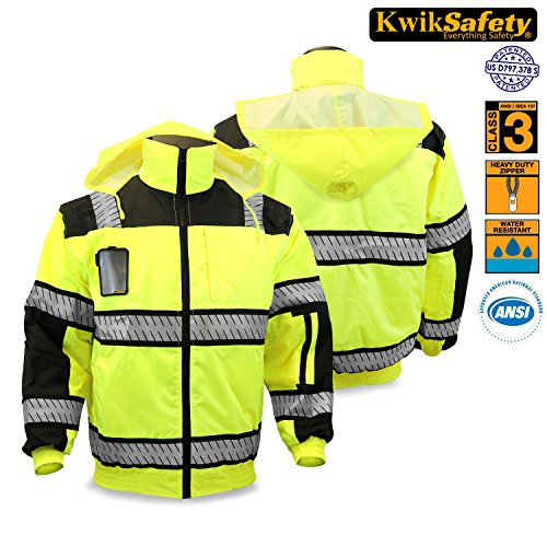 KwikSafety Class 3 Fishbone Bomber Jacket | Hi Viz Long Sleeve Reflective Work Wear | Water Resistant Hideaway Hood Detachable iPocket Thermal Lining | Construction Motorcycle Security | X-Large