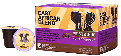 Westrock Coffee Company East African Blend Best Medium-Dark Roast Gourmet Single Serve Cups, 12 Count