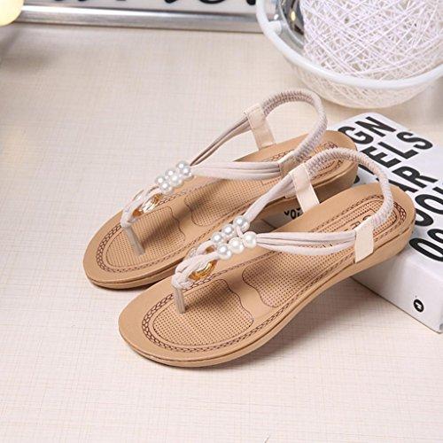 Elevin (tm) Mujer Summer Fashion Con Cuentas / Venda / Lentejuela Bohemia Plataforma Plana Flip Flop Sandal Zapatos Blanco