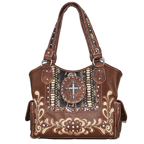 Shoulder Brown 5260 Leather Hobo Cross and Matching Purse Flower Rhinestone Style Handbag Wallet q7BXgU