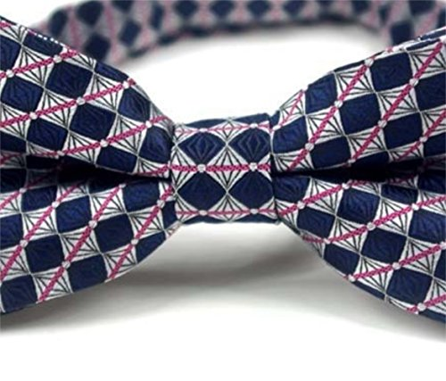 Tie Bow and Party Striped Bow Bow Tie Tie Gentlemen Silver Blue SKNSM Plaid Men Silver Dating Color Dark n1vpOa