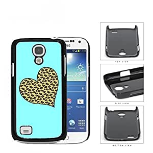 Leopard Print Heart Shape With Aqua Background Hard Plastic Snap On Cell Phone Case Samsung Galaxy S4 SIV Mini I9190