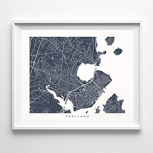 Portland Maine Street Road Map Home Decor Poster Urban City Hometown Wall Art Print - 70 Color Options - Unframed (A Map Of Maine With Towns And Cities)