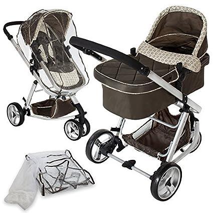 TecTake 3 in 1 Kinderwagen Kombikinderwagen Buggy Babyjogger Reisebuggy Sportwagen Kids -diverse Farben- (Braun)