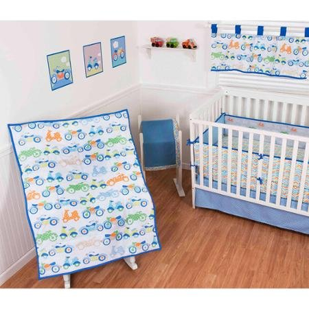 Sumersault Vroom Vroom 10-Piece Crib Set - Blue/Orange/Green by Sumersault