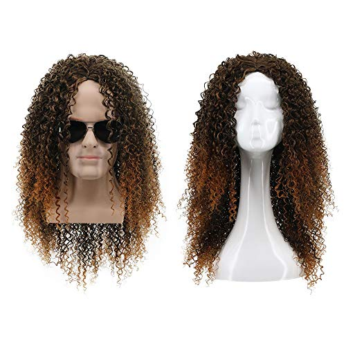 Yuehong 70s 80s Long Party Funky Disco Afro Wig Halloween Costume -