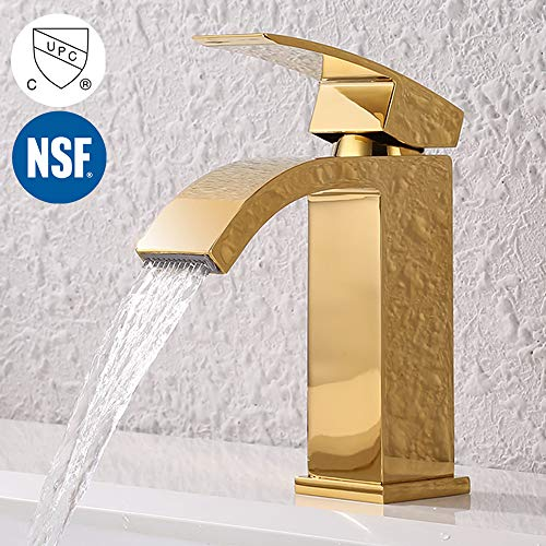 KES Bathroom Faucet Single Handle One Hole Vanity Sink Faucet cUPC NSF Certified Lead Free Brass Construction, Titanium Gold, L3109ALF-PG