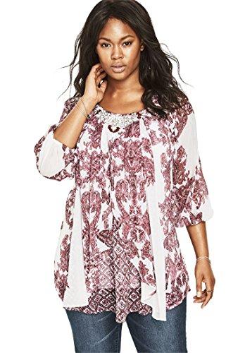 Womens-Plus-Size-Embellished-Print-Tunic