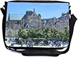 Rikki Knight Claude Monet Art Saint-Germain Auxerrois Design Premium Messenger Bag - School Bag - Laptop Bag - with Padded Insert for School or Work - with Matching Pencil Case