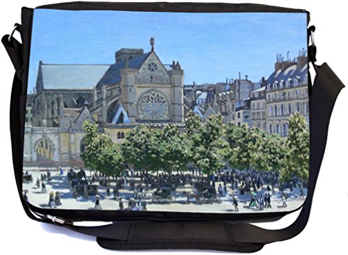 Rikki Knight Claude Monet Art Saint-Germain Auxerrois Design Premium Messenger Bag - School Bag - Laptop Bag - with Padded Insert for School or Work - with Matching Pencil Case by Rikki Knight