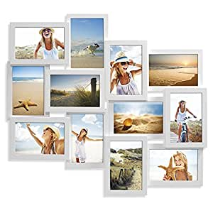 """Unigift Pacific 12 in 1 Wooden Collage Puzzle Photo Frame 10 x15 cm/4""""x6"""" - White"""