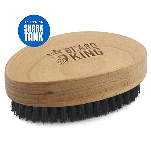 BEARD KING - Beard Brush for Men - Wild Mixed Boar Hairs for Fast Easy Grooming - Step Up Your Beard Styling & Maintenance - Facial Hair Comb - Made From Solid Wood ()